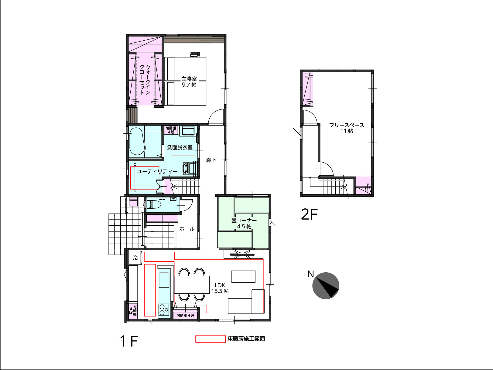 |富山市山室荒屋|リノベーション物件|床暖房+ワイヤレススピーカー付き!(3LDK対応可)の間取り