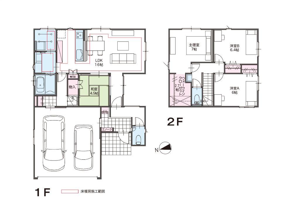 【Co.マチ五艘F4 】  4LDK   富山市五艘 桜谷小学校・富山市附属小学校近く 新築住宅 インナーガレージ 床暖房の間取り