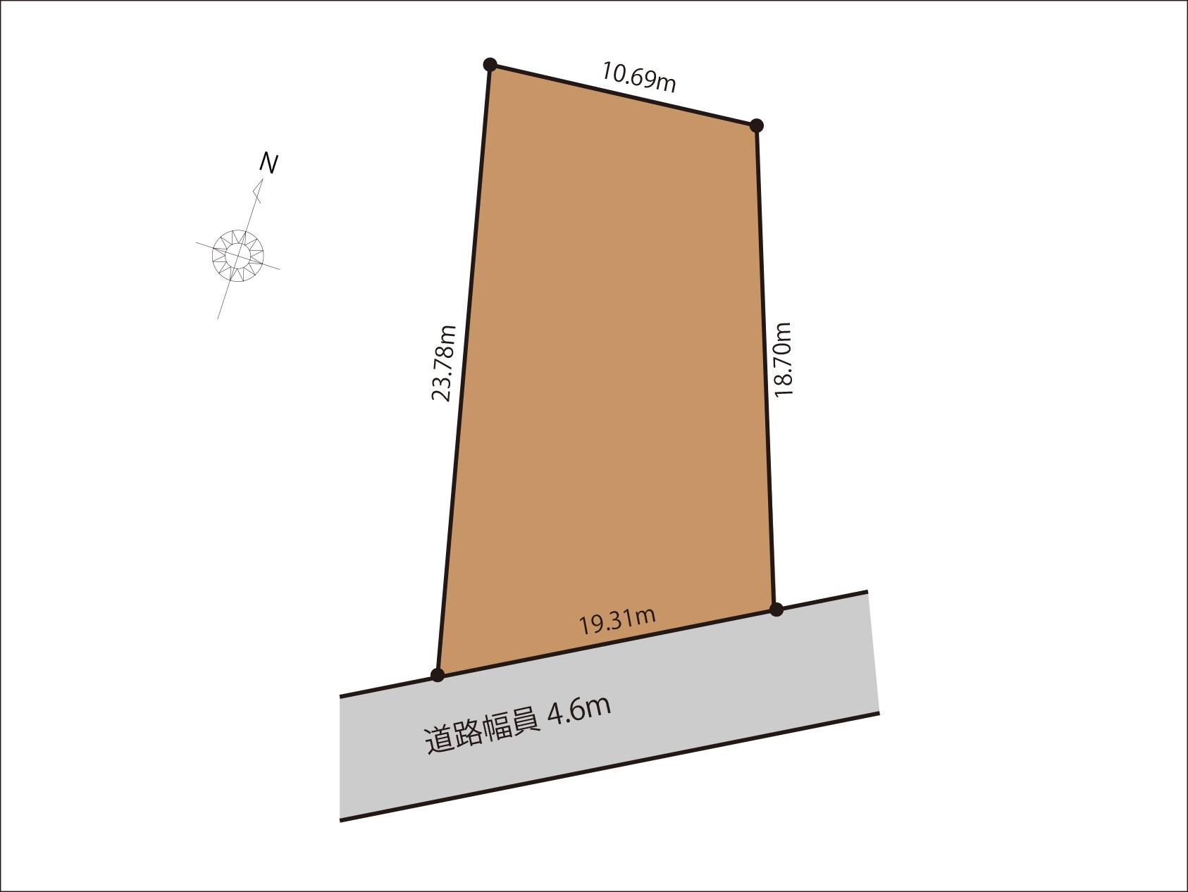  富山市本郷町 宅地 建築条件無し 買い物施設充実の間取り