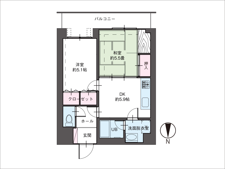  富山市五番町 マンション 2DK 富山市立中央小学校区 リフォーム条件付き 中古の間取り