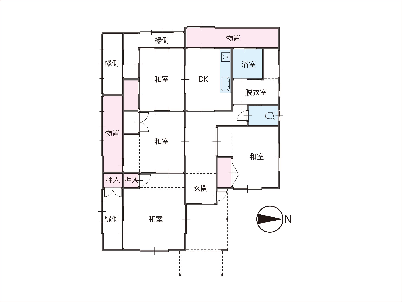 |富山市八尾町井田|平屋|4DK|オール電化|太陽光発電|の間取り