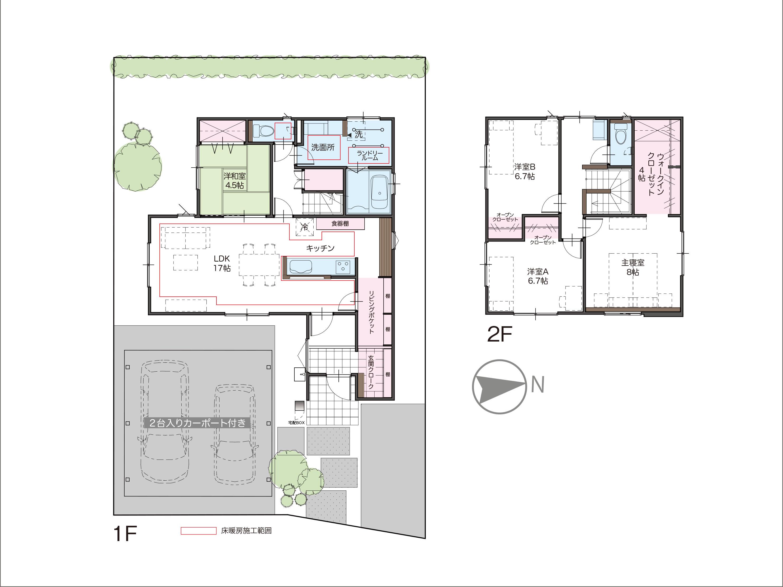 富山市黒瀬にて4LDK新築不動産住宅を販売中!|Co.マチ黒瀬F13|カーポート・床暖房付の間取り