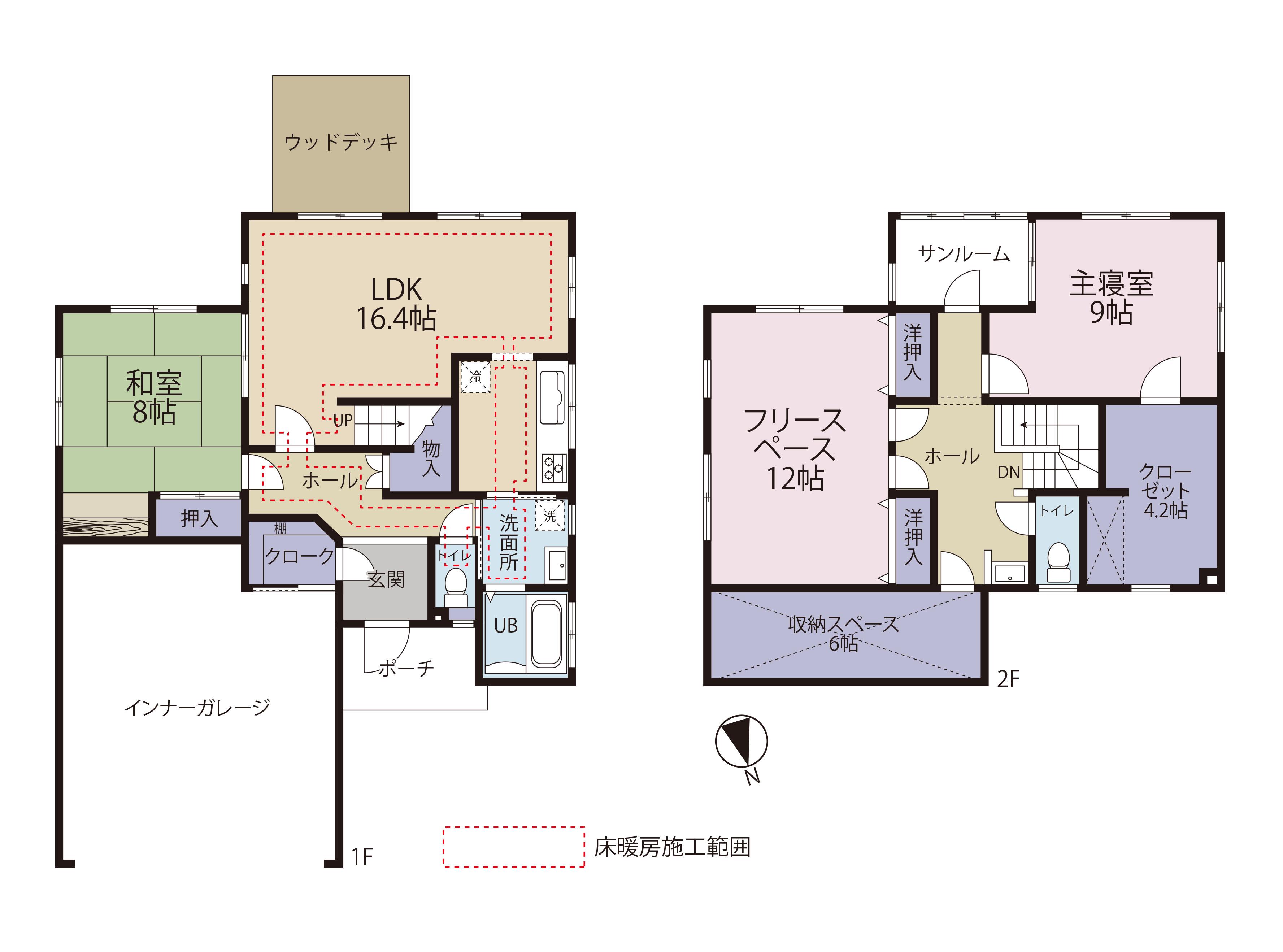 砺波市苗加|中古住宅|インナーガレージ|床暖房|3LDK|収納充実!の間取り