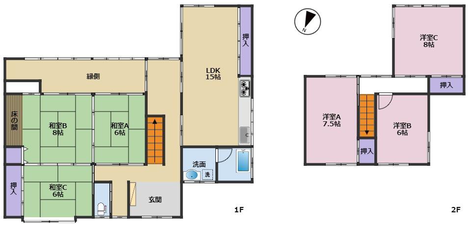 富山市山室荒屋|6LDK|小学校まで徒歩10分圏内。リフォーム住宅|山室中部小学校区|山室中学校区|の間取り