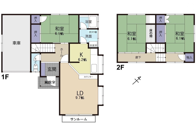 富山市城村新町|3LDK|角地ガレージ付住宅・南東側リビング|太田小学校区|山室中学校区|の間取り