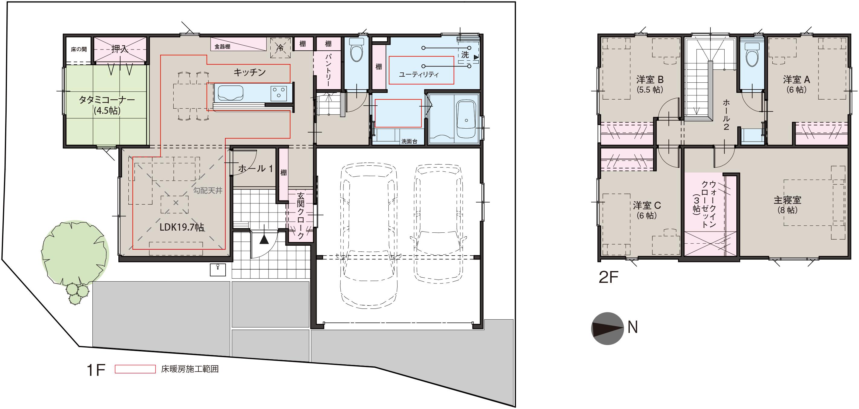 黒部市堀高にて4LDK・新築不動産住宅を販売中です 堀高F8 インナーガレージ2台分・床暖房付きの間取り