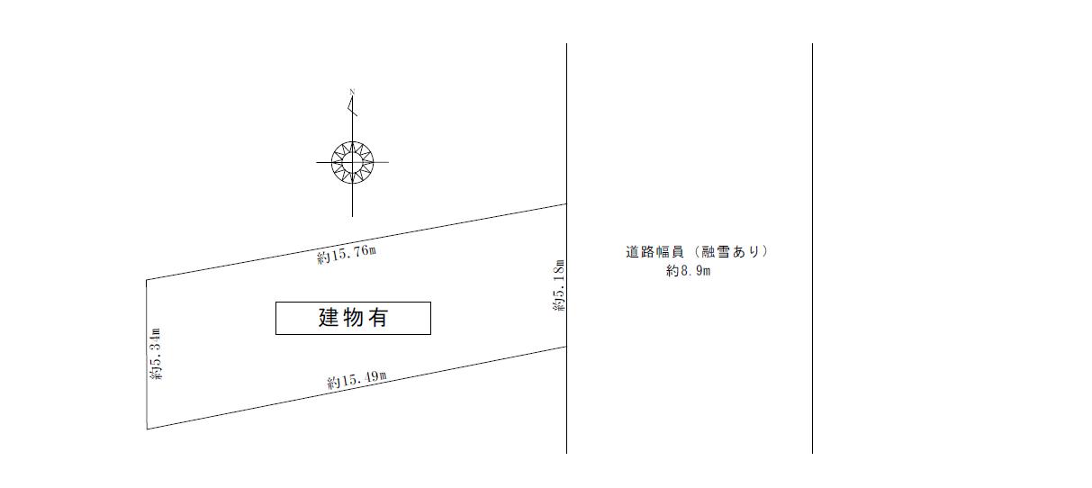 富山市新川原町売地 芝園小学校区!路面電車桜橋駅まで徒歩約3分、富山駅まで徒歩約14分。前面東側道路、消雪装置付です。の間取り