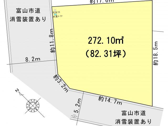 富山市水落|宅地|建築条件なし|角地|豊田小学校区|北部中学校区のサムネイル画像