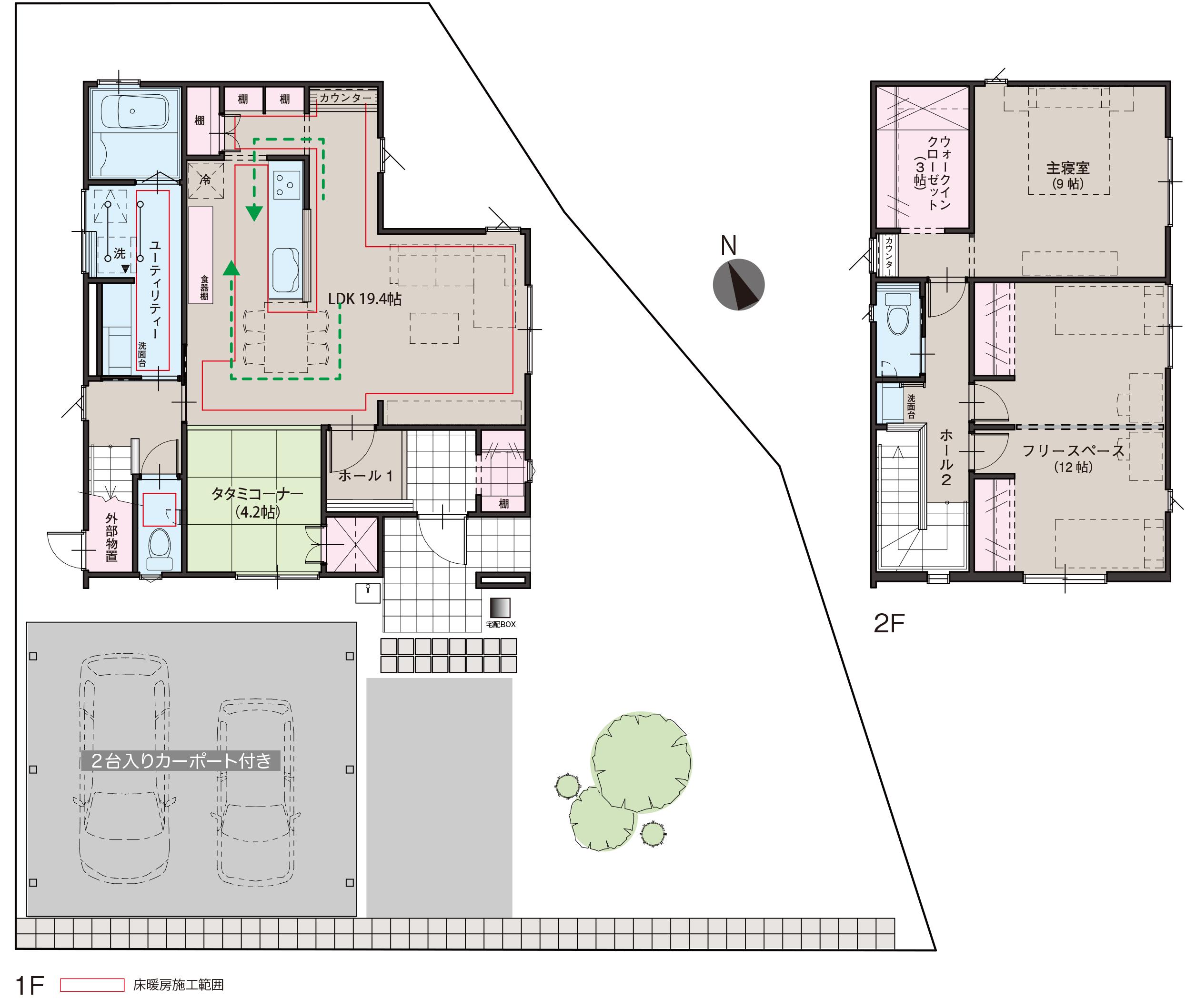 滑川市上小泉にて3LDKの新築不動産住宅を販売中 Co.マチ滑川上小泉F11 プラント3近くの間取り