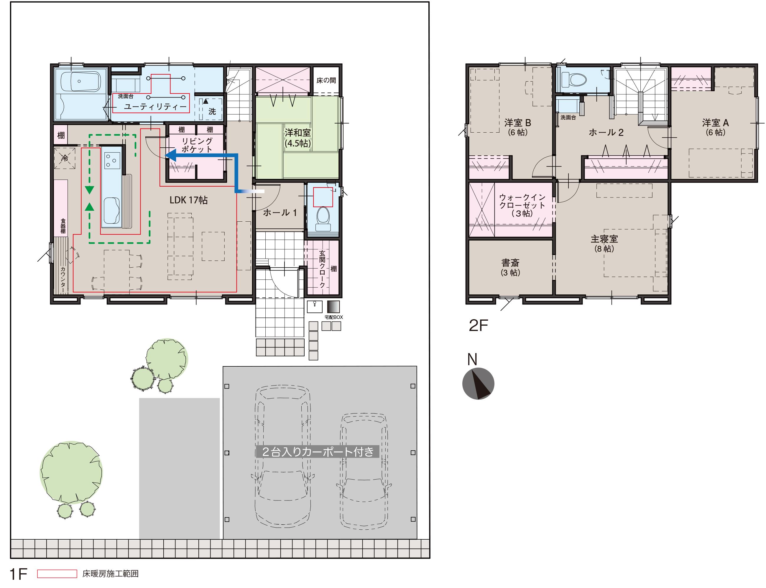 滑川市上小泉の4SLDK・新築不動産住宅を販売中!|Co.マチ滑川上小泉F10|リビングポケットで収納充実の間取り