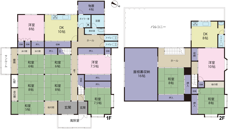 富山市水橋の中古物件 2世帯住宅や、シェアハウスとしても利用できる11DK 富山市立水橋東部小学校 富山市立水橋中学校 売家 既存(中古)住宅 の間取り