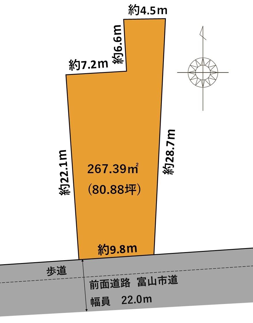 富山市梅沢町売地|利便性の高い富山市中心街で「土地」をお探し中の方にイチオシ物件。近隣の市電駅まで徒歩約6分。スーパー、ドラッグストアも徒歩圏内!の間取り
