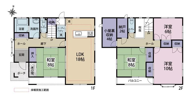 4LDK+2Sの既存(中古)住宅が入善町椚山にて販売開始|オスカーホーム施工物件|オスカーの点検サービス加入可能|床暖房付き|収納豊富の間取り