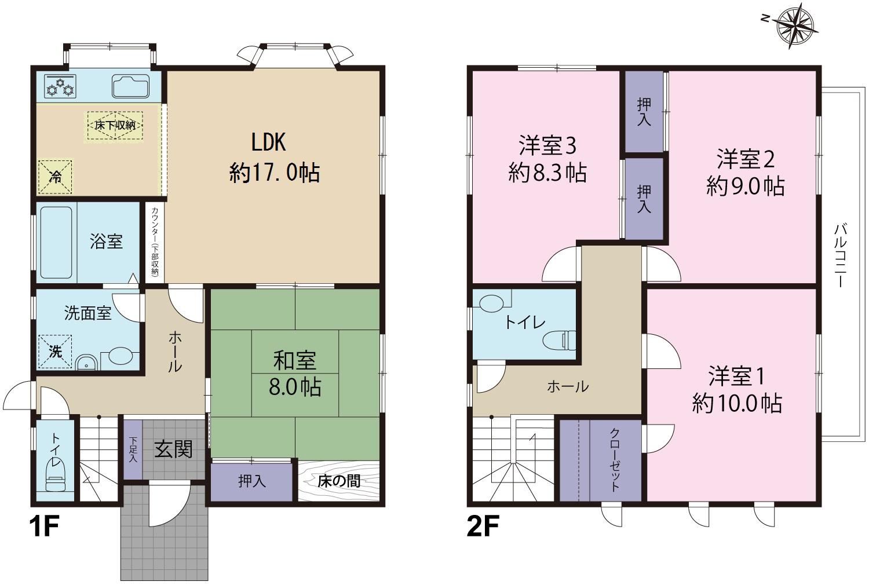 上市町放士ケ瀬新にて4LDKリフォーム住宅を販売開始!|2021年9月リフォーム完了予定|カーポート2台+青空駐車1台分|既存(中古)住宅|の間取り