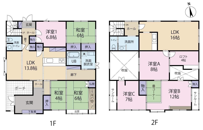富山市長江 既存(中古)住宅|東部小学校校区!二世帯可能な4LDK+3LDK。 ホームインスペクション(建物状況調査)済。アルビス経堂店など商業施設近く。の間取り