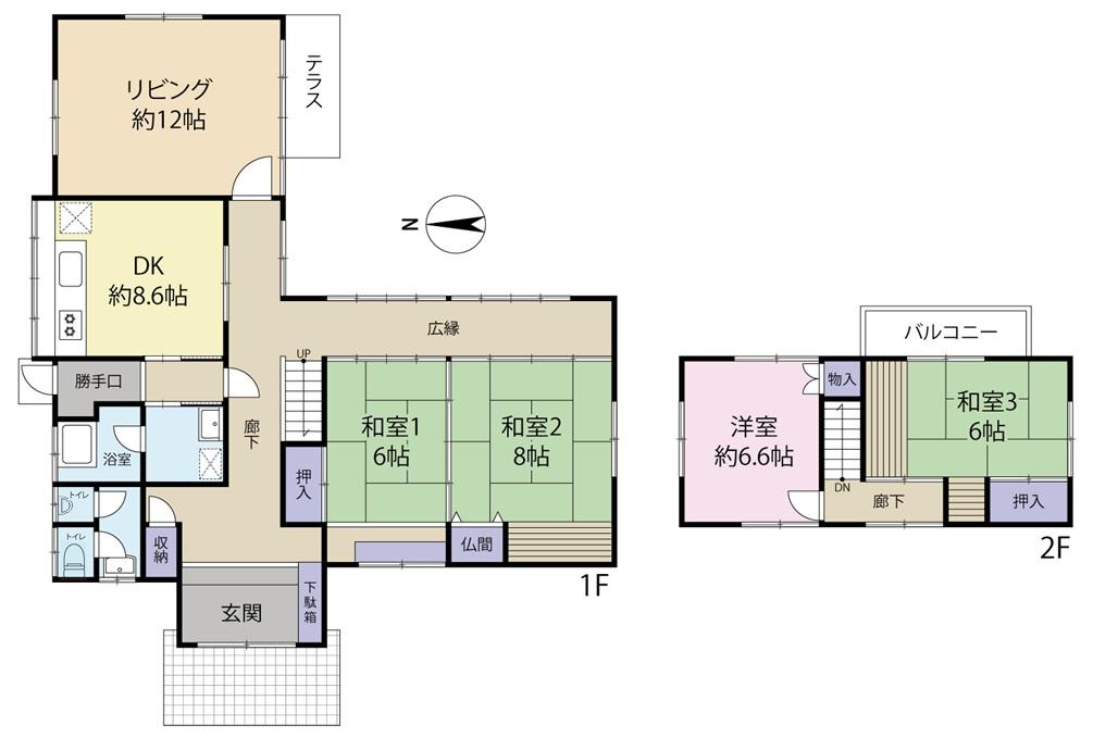 富山市布目の4LDK・オール電化住宅を販売中!リビング・和室からお庭の眺めを楽しめます。の間取り