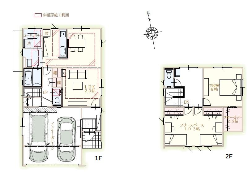 富山市婦中町分田 既存(中古)住宅 2台入インナーガレージ付・床暖房付きで冬も安心。20帖の広々LDKの間取り