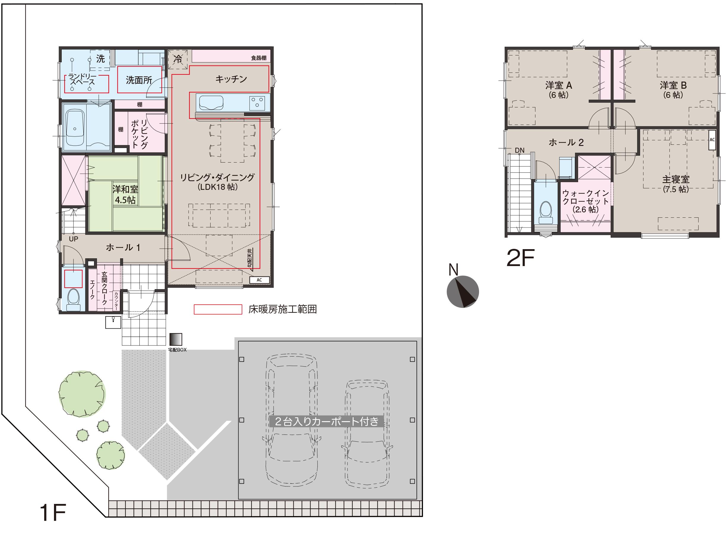 【Co.マチ滑川上小泉F8】|4LDK|滑川市上小泉|西部小学校区・プラント3近く|新築住宅|カーポート2台分|床暖房の間取り